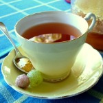 tea with honey and candied grapes