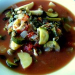 Albanian Style Snapper, Squid, and Spring Vegetable Soup