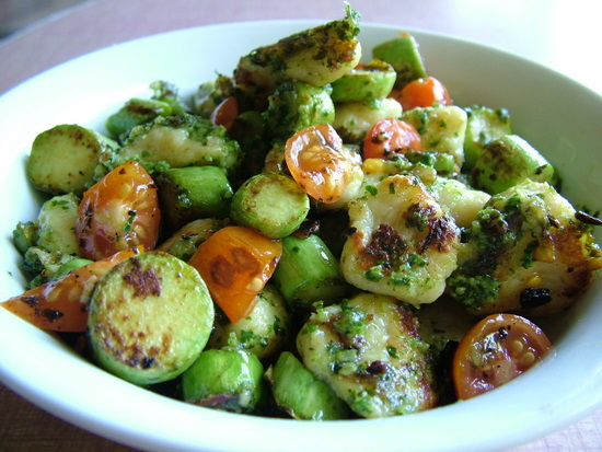 gnocchi with zucchini and pesto