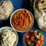 Dips for Dinner – Babaganoush, Capsicum and Macadamia, and Hummus