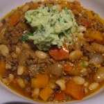 Chili Con Kanga With Avocado, Lime and Coriander Salsa