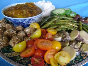 hot mango chutney, garlic white beans, marinated snake beans, marinated tromboncino and eggplant, labne, cherry tomatoes and cucumber