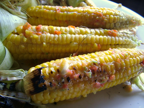 sweet corn with chili lime dressing