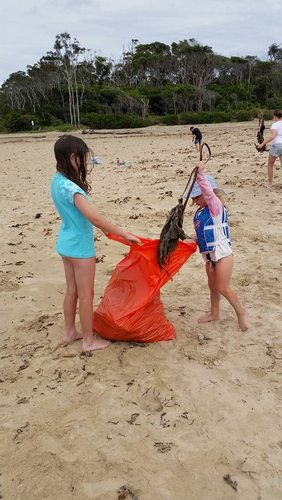 Kaela and Bella collecting seaweed